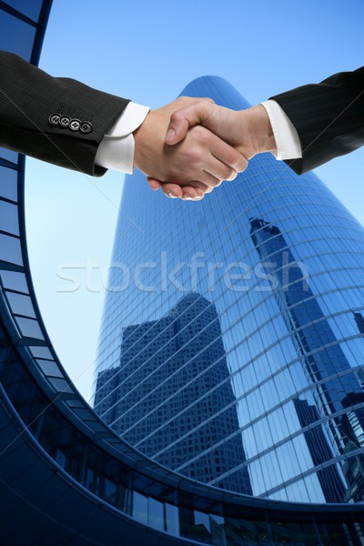 Сток-фото: Businessman partners shaking hands with suit