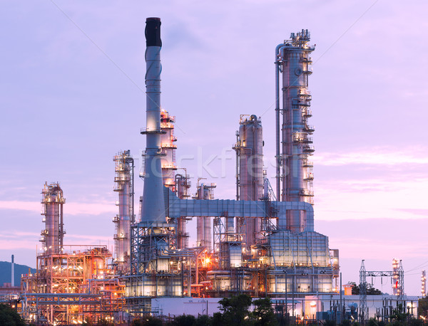 Сток-фото: scenic of petrochemical oil refinery plant shines at night, clos